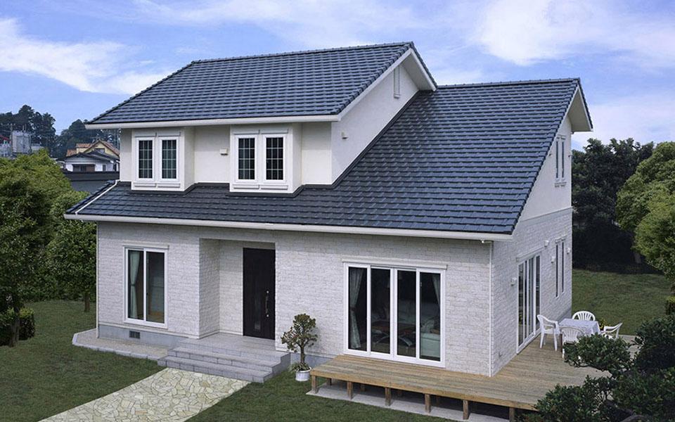 6mの勾配天井がリビングに開放感をもたらす、大屋根の家。【茨城県・F様】