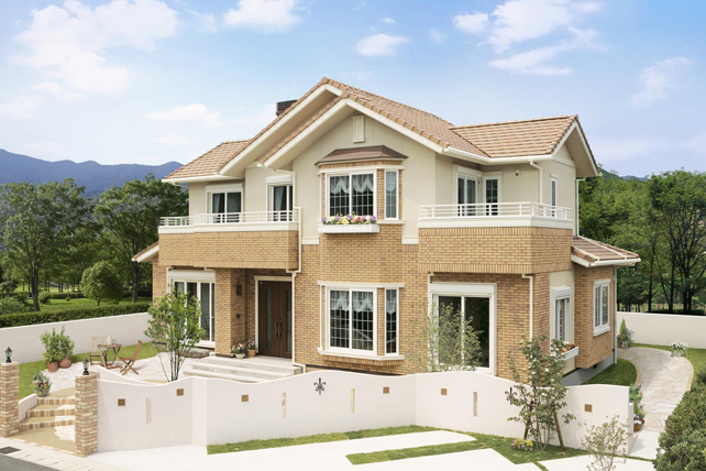 イメージ 関連キーワード 二世帯住宅 間取り  外観 洋瓦屋根 耐震、免震、省エネ、健康。こだわ